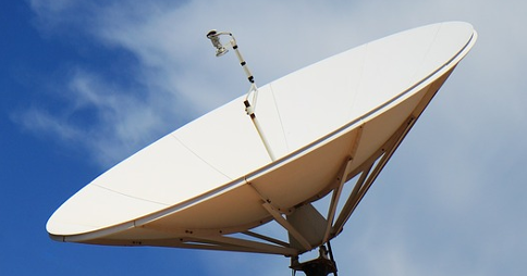 Rooftop satellite TV dish